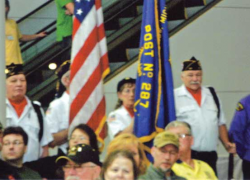 Legion Color guard performs at ceremony