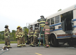 Area first responders train on simulated school bus crash