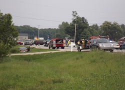 Four-car accident sends one to hospital