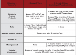 Immunizations required to begin school