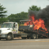 Two hurt in accident; vehicle later catches fire