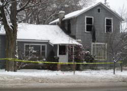 Empty house catches fire
