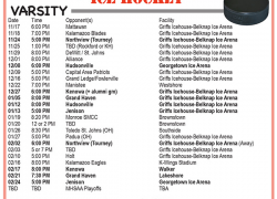 Varsity ice hockey schedule