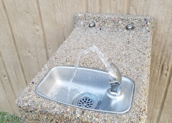 New drinking fountain at staging area