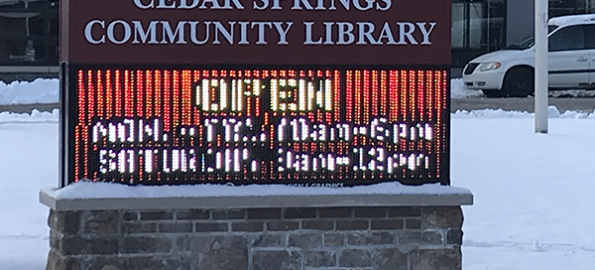 New electronic sign installed at library