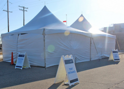 Special tents set up outside emergency departments