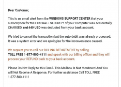 Email scam: Windows support center