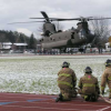 Chinook helicopter lands at Skinner Field