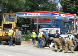 Crash punctures dump truck gas tank