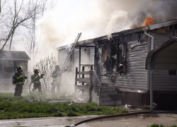 Fire strikes mobile home