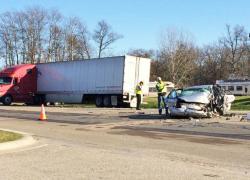 Man dies in crash with semi