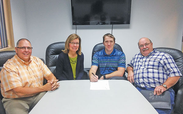 The City now owns all of the land in the Heart of Cedar Springs project after it was officially donated to them earlier this week. From left to right: Kurt Mabie, CBDT President; Carolee Cole CBDT Secretary; Cedar Springs City Manager Mike Womack; and Mayor Gerald Hall.