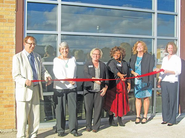 Cherry Health Center at Cedar Springs Public Schools celebrated their grand re-opening this week. From left to right: Chris Shea, CEO of Cherry Health; Dorothy Weller, of the Weller Foundation; Denise Gates, of ChoiceOne Bank; Tasha Blackmon, Cherry Health COO; Superintendent Dr. Laura VanDuyn; and Kristina Paliwoda, site manager at the Cedar Springs Cherry Health Center. Post photo by J. Reed.