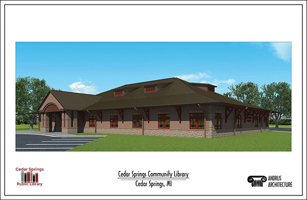 This rendering shows the new Cedar Springs Library building.