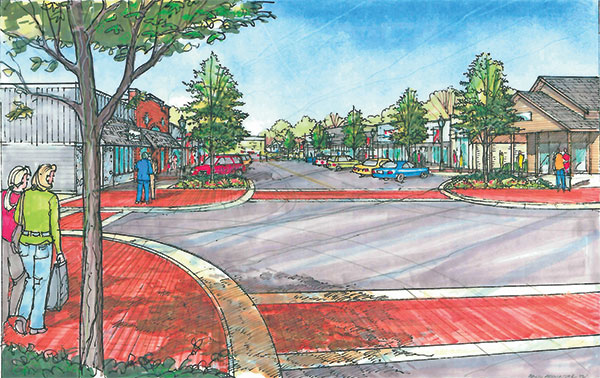 This drawing shows a more upscale version of the Village of Sand Lake streetscape project, which would not include as much red brick and the curbs would not jut out as far. This drawing is looking east from 5th Street (at the Park) toward Northland Drive. Drawing by Fleis & VandenBrink