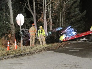 A woman was killed in this crash in Courtland Township Wednesday. Post photo by M. Ford.