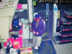 The robbery suspect entering the Admiral gas station last Thursday about 12:46 a.m.
