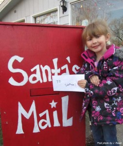 Ashlynn Davis, 5, of Cedar Springs, was the first child to drop off a letter to Santa in our mail box. Thanks, Ashlynn!