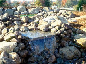 This beautiful re-circulating waterfall feature plays a soothing role within the newly dedicated Rockford Reformed Church Memorial Prayer Garden.