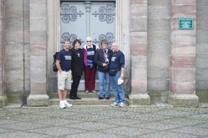 Sandy & George Waite, Shirley Siferd-Hart, and Tim and Sue Wolfe stand in front of the Mountain Munchberg Lutheran Church in Munchberg, Germany. This is where all the Siferd Family was baptized and married in the 1700's.