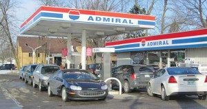 The price of gasoline jumped 23 cents Wednesday. Cars lined up at Admiral in Cedar Springs Wednesday, anticipating the jump from $3.36 per gallon for unleaded, to $3.59. Post photos by J. Reed.