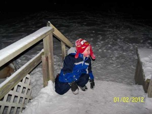 Jacob Totten, son of Amber Totten, had a great time playing in the freshly fallen snow, one of his favorite things.