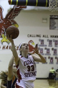 Lady Red Hawk Tiffany Karger had a career best scoring 26 points against the Red Skins.