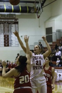 Lady Red Hawk Brittany Todd pulled down 11 rebounds and made 8 points against Kent City last week.