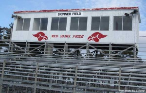 PEELING PAINT—The school district only has the budget to do basic maintenance at Skinner Field.