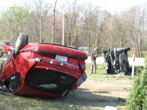 Three people were hurt in this two-car accident in Solon Township Wednesday morning.  Post photo by J. Reed.
