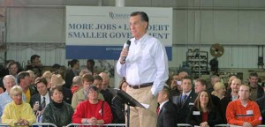 Mitt Romney at rally at Byrne Electrical in Rockford Monday. Photo by B. Altena.