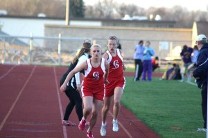 Sommer VanDyke and Katie Weiler in 1600m relay.