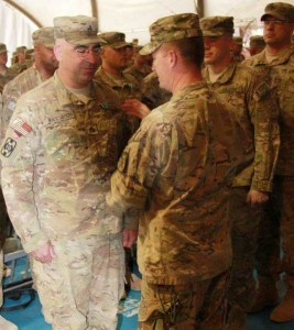 Staff Sergeant Michael F. Vandenboss US Army 236th ICTC being awarded the Army Commendation medal for service in Afghanistan 2011-2012