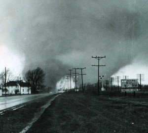 This double tornado was one of 47 tornadoes that occurred on Palm Sunday, April 11, 1965 and affected several states in the Midwest, including Michigan. This particular tornado hit the Midway Trailer park in Indiana, killing 33 people.