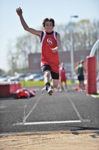 Kaden Myers in the long jump