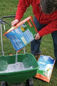 Fertilizers with slow release nitrogen produce long lasting green lawns.
