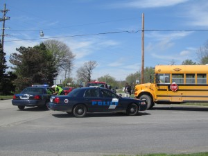 A Cedar Springs School bus was hit by a pickup truck driver Wednesday afternoon. No students were hurt in the accident. Post photo by J. Reed.