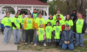 Part of the group that helped clean up the area.