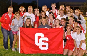 The Red Hawk team after winning their conference championship