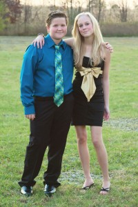 Exchange student Emma and her host brother before the homecoming dance.