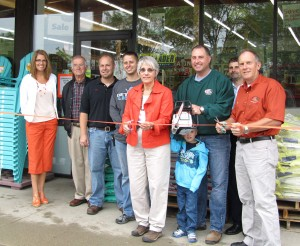 White Creek Lumber and Hardware held a ribbon cutting last Friday to celebrate their grand reopening, and will continue the festivities this weekend. L to R is Cedar Springs City Manager Christine Burns, Art Probst, Bill Jobse Jr, Charlie Dubridge, Jane Gosling, Owen Gauger, Aaron Gauger, Mike Gould-Orgill Representative, and Bill Jobse Sr.