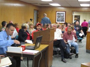 The City Council chamber was packed with spectators at the regular Cedar Springs City Council meeting last week Thursday, many of them there to speak on behalf of the Red Flannel Festival. Post photo by Judy Reed