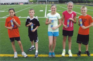 Cedar View 55-meter dash champions (L to R): 