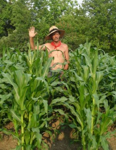 Farmer John Grimes standing in his corn field.