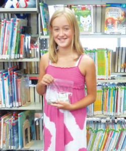 Emily Brown raised $46 for the library matching grant fund.