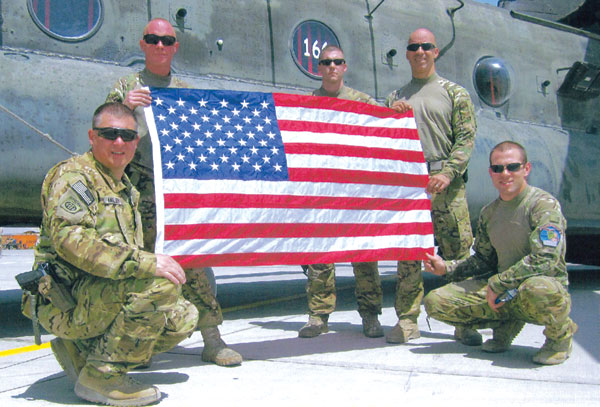 Afghanistan July 16, 2012 - Dedication of an American Flag in honor of 2nd LT Jack Price. Pictured: CW3 Timothy Miller, SGT Dan Osgood, SGT Daniel Crampton, SGT Anthony Fraccarolli, CPT Dave Dunham.