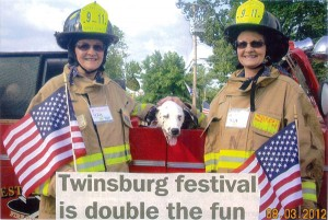 Pictured is Dianne (Heiss) Howell, of Pierson, Michigan, and her twin sister Kathleen (Heiss) Zersen, of Mesa, Arizona, at the Twinsburg Festival, in Twinsburg, Ohio.
