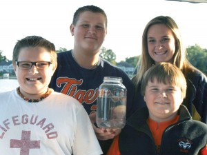 Jars of Jellies—The Powell family have caught lots of bluegills, bass and perch from Myers Lake, but never before caught jellyfish. Jade, Vance, Gage and Chase Powell are pictured with a jar of the freshwater creatures they scooped up from the lake on Sunday, September 16.