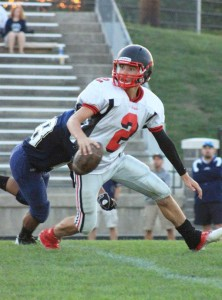 Red Hawk Kaden Myers returned two kickoffs for touchdowns in last Thursday's game against the Otsego Bulldogs. Photo by R. Klompstra.
