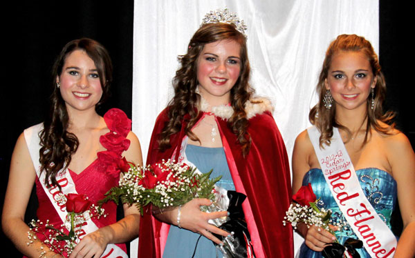 The 2012 Red Flannel Queen is Dani George (center). Her court is Kellie Spahr (left) and Jordyn Nichols (right).